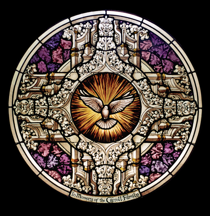 The Rose Window Is Centered Above Two Figurative Scenes And Dove In Center Of Symbolically Spreads Its Wings Over Events